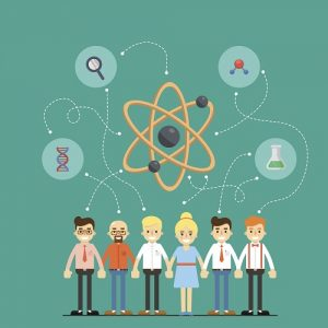Social network and teamwork banner with group of people holding hands, vector illustration on green background. People communication concept. Mind map team. Global scientific research and development.